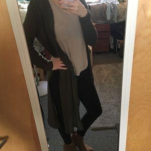 Long olive side-slit cardigan